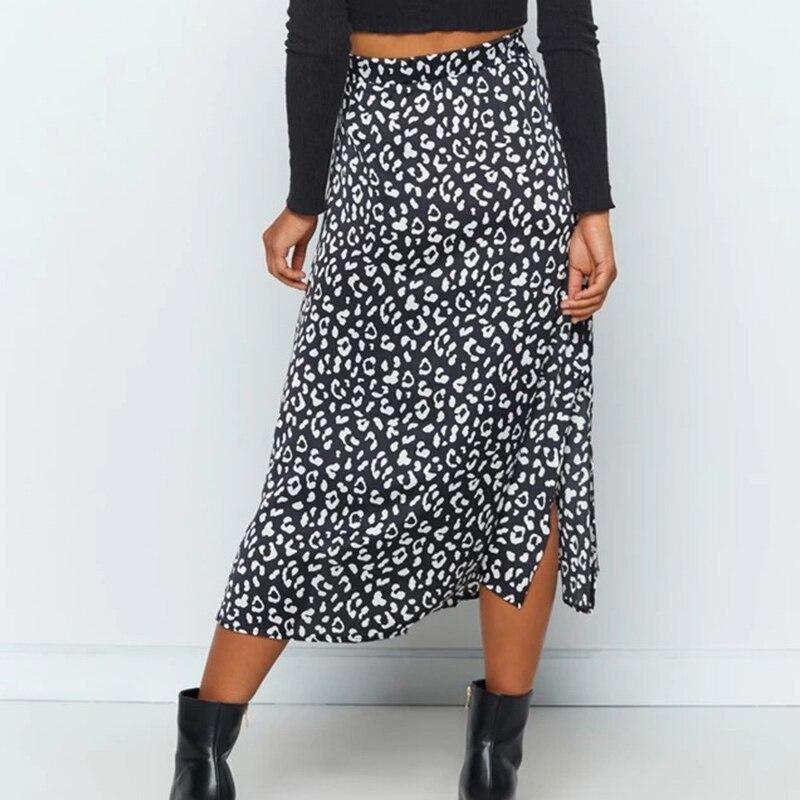 Chiffon Leopard Print Split Midi Skirt Women's Vintage High Waist Zip Elegant Ladies 2020 Summer Fashion Sexy Skirts Female