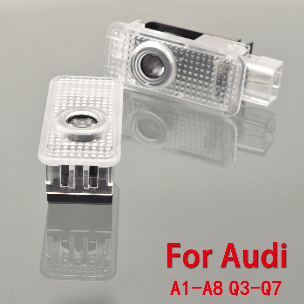 2pcs Car LED Door Welcome Logo Light Laser Projector Lights For Audi A1 A3 A4 A5 A6 A7 A8 R8 Q3 Q5 Q7 RS R TT S Line Quattro