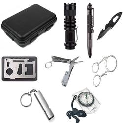 Zestaw survivalowy Mini zestaw wojskowy outdoor travel narzędzia kempingowe apteczka awaryjna multifunct przetrwać na przygodę na zewnątrz Sport Bezpieczeństwo i przetrwanie    -