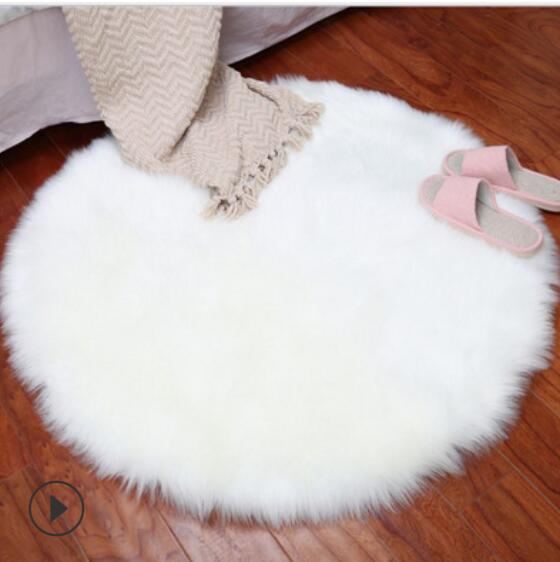 Plush Round Carpet Rugs Living Room Imitation Wool Sofa Cushion Soft Fluffy Bedroom Mat Home Floor Mats