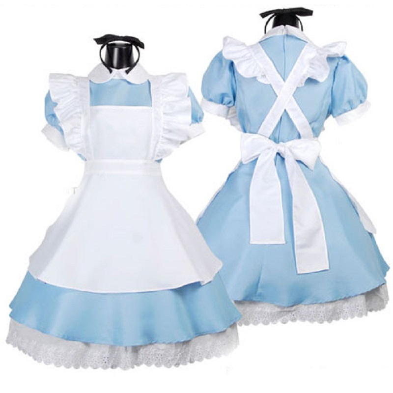 Blue <font><b>Sexy</b></font> <font><b>Alice</b></font> <font><b>In</b></font> <font><b>Wonderland</b></font> <font><b>Costume</b></font> Adult Party Fancy Woman Cosplay Lolita Maid Halloween <font><b>Costumes</b></font> for Women Dress Plus Size image