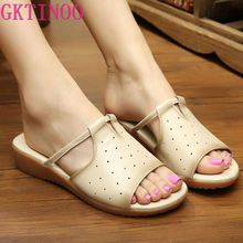 GKTINOO 2020 Summer Slippers Genuine Leather Shoes Women Slides Beach Slippers Shoes Summer Sandals Flat Sandals wedges slippers women 2018 slides sandals shoes women genuine leather closed toe handmade comfortable women flat shoes