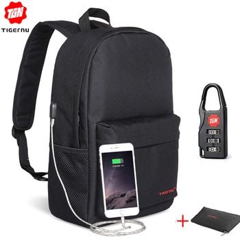 Tigernu Men Small Backpacks Collage 15.6 inch USB Laptop Backpacks Women Male Mochila Light School Bags for Teenagers Girls Boy