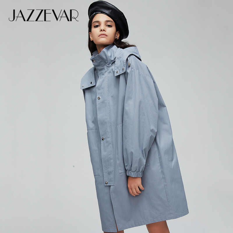 JAZZEVAR2019 New arrival autumn trench coat women Loose clothing outerwear quality with a hood fashion womens windbreakers 9007