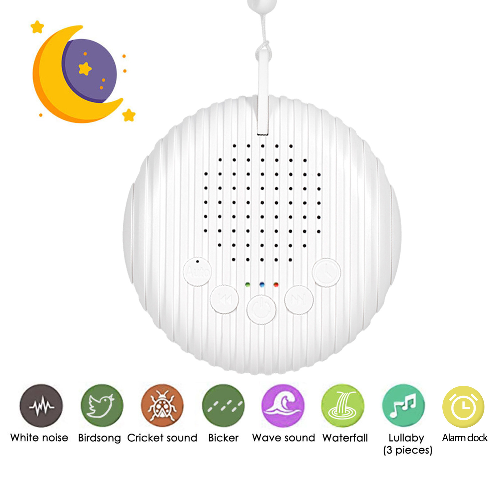 Baby White Noise Machine USB Rechargeable Timed Shutdown Sound Machine Sleep Soother Relaxation Monitor For Baby Adult Office