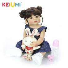 New 22 Inch All Silicone Body Reborn Girl Lifelike Baby Doll DIY Hair Newborn Princess Toddler Toy Waterproof Birthday Gift hot selling npk 22 inch lifelike reborn newborn doll set silicone baby dolls kit for kids playmat toy gift