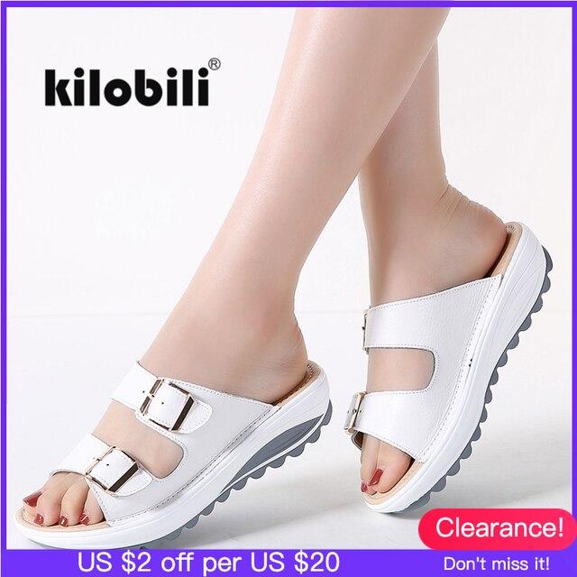 Kilobili נשים נעלי אבזם עור אמיתי נעלי שקופיות מוצק עבה בלעדי עקבים חוף סנדלי נשים מחוץ כפכפים קיץ