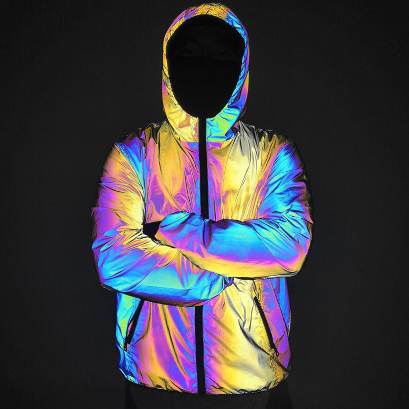 Autumn Winter Men Night Colorful Reflective Hooded Jacket Casual Windbreaker Male Hip Hop Jackets and Coat Drop Shipping
