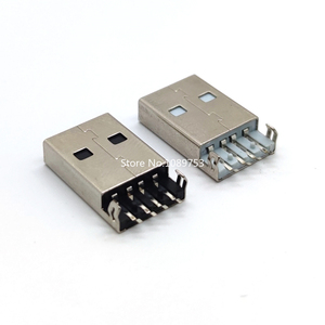 10Pcs/lot USB 2.0 Jack Plug Connector 4pin A male Sink 2.5 SMT Cable Soldering SMD PCB Connectors White / Black