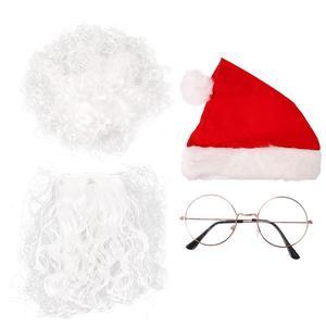 4pcs Santa Beard Wig Hat Glasses Christmas Party Cosplay Props Funny Santa Beard Santa Hat Santa Cosplay Props Santa Glasses