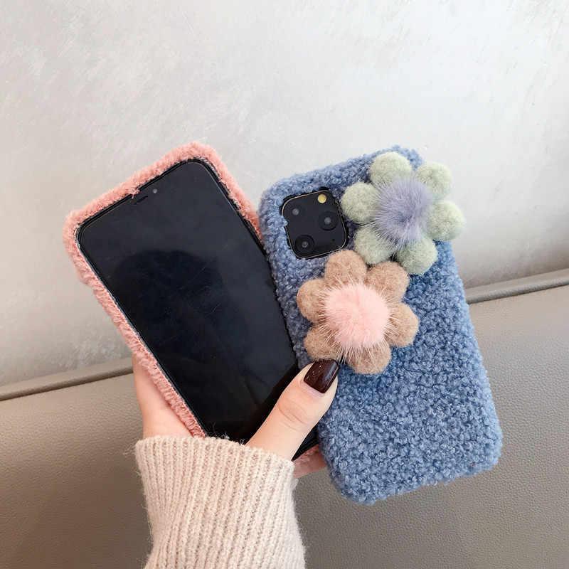 Lovely Plush Quente Caso de Telefone para O Iphone XS Max XR X 11 Pro Max Coelho Peludo Capa De Pele Macia para O Iphone 6 6S 7 8 Mais Casos
