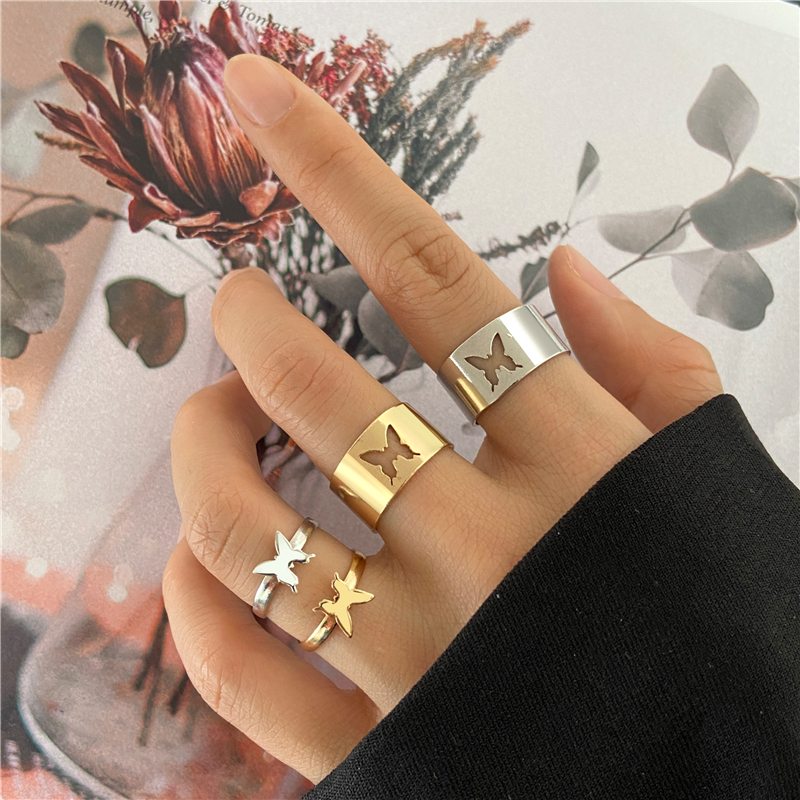 Трендовые золотые бабочки Пара Кольца для мужчин и женщин любовь Серебряное Цвет кольца дружбы обручальные разомкнутые кольца, ювелирные и...
