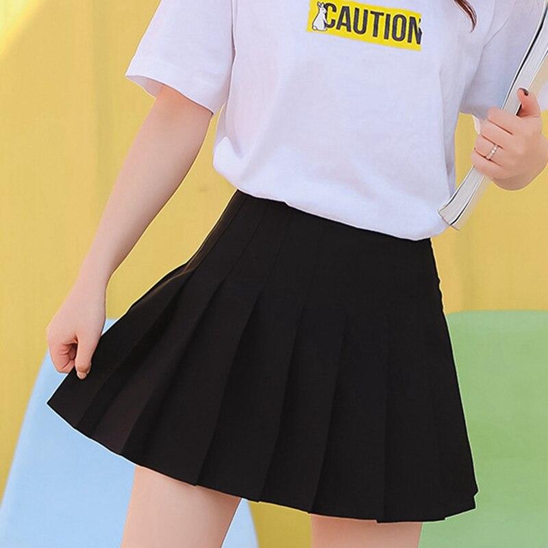 Plus Size Preppy Style Harajuku Short Skirt Korean Solid Skirt Women Zipper High Waist Japanese School Girl Sexy Pleated Skirt
