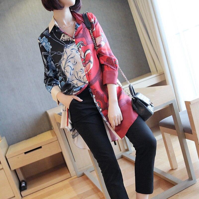 Modis chemise pour femmes classique en mousseline de soie Blouse femme M-XXL grande taille lâche à manches longues chemises décontractées dame Simple Style automne vêtements