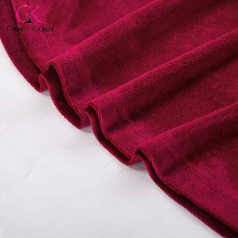 Grace Karin 2020 jesień 3/4 rękaw Flare sukienka trapezowa kobiety aksamitna sukienka plisowana z kieszeniami i paskiem Midi sukienek