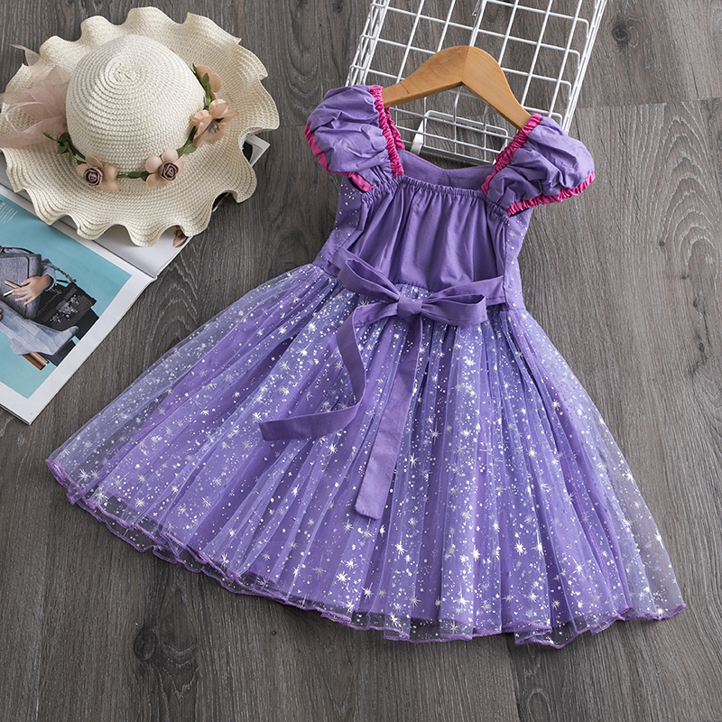 Girl Princess Dress Puff Sleeve Gorgeous Gowns Infant Halloween Child Cosplay Dress Up Summer Girls Dresses 2-4-6Years 2