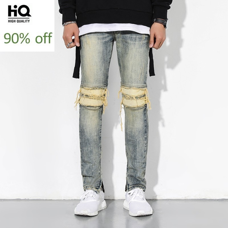 High Street Brand Jeans Men Hole Ripped Slim Pencil Denim Pants Male Autumn Washed Blue Vintage Side Zipper Biker Trousers Homme