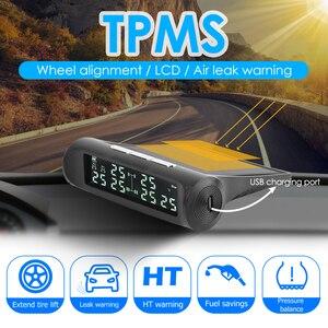 Image 1 - Vodool an 07 solar carro tpms sistema de alarme de monitoramento de pressão dos pneus com 6 sensores externos display lcd monitor de pressão de pneus automático