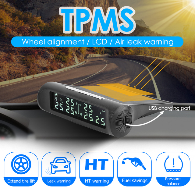Vodool an 07 solar carro tpms sistema de alarme de monitoramento de pressão dos pneus com 6 sensores externos display lcd monitor de pressão de pneus automático