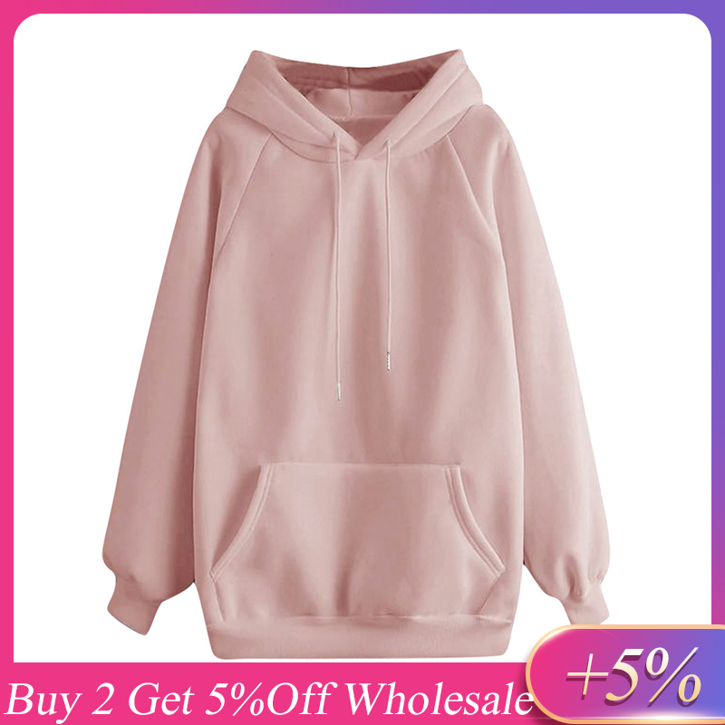Hoodies & Sweatshirts Women Solid Color Hooded Pocket Long Sleeve Pullover Sweatshirt Oversize Sweatshirt толстовка худи свитшот