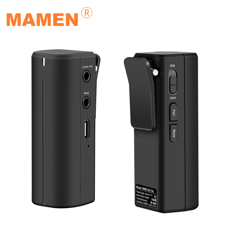 MAMEM Portable 2.4GHZ Wirelss Microphone HD Digital Lavalier Microphone 50-15KHz 360 Degree Sound Pickup Transmitting-Receiving
