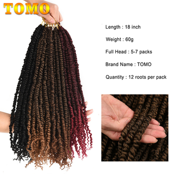 TOMO Passion Twist Crochet Hair 18 Inch Pre-looped Synthetic Crochet Braids Hair Extensions Ombre Braiding Hair Black Brown Red 3