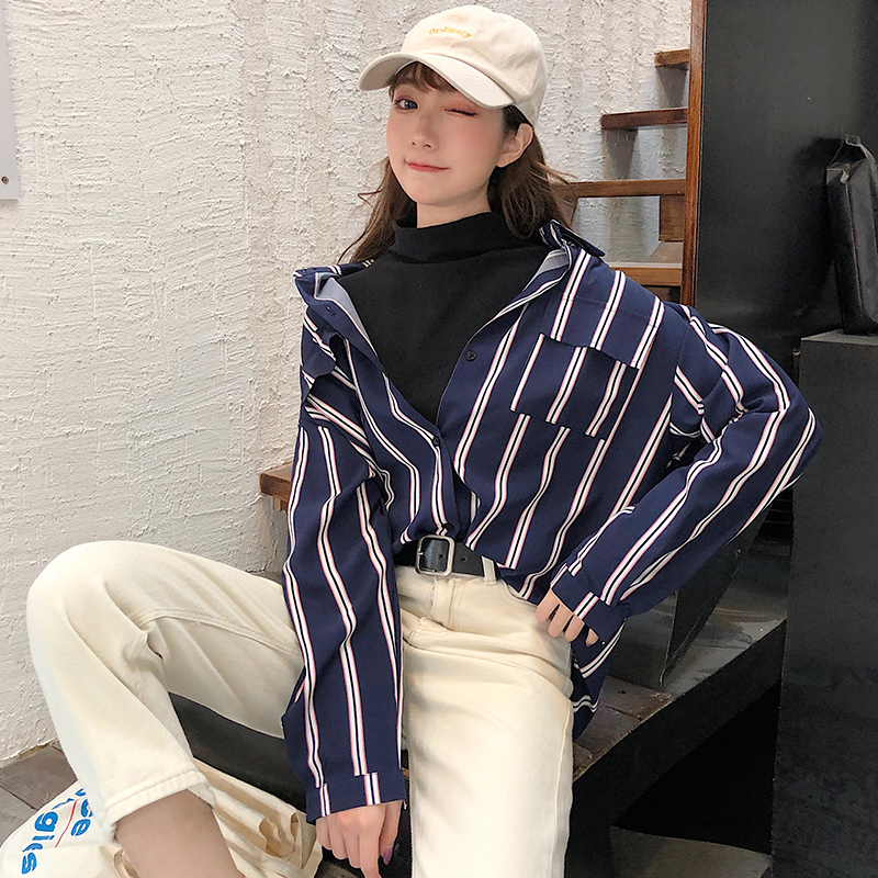 2020 New Blouse Women Casual Striped Top Shirts Blouses Female Loose Blusas Summer Fall Vintage Ladies Office Blouses Tops