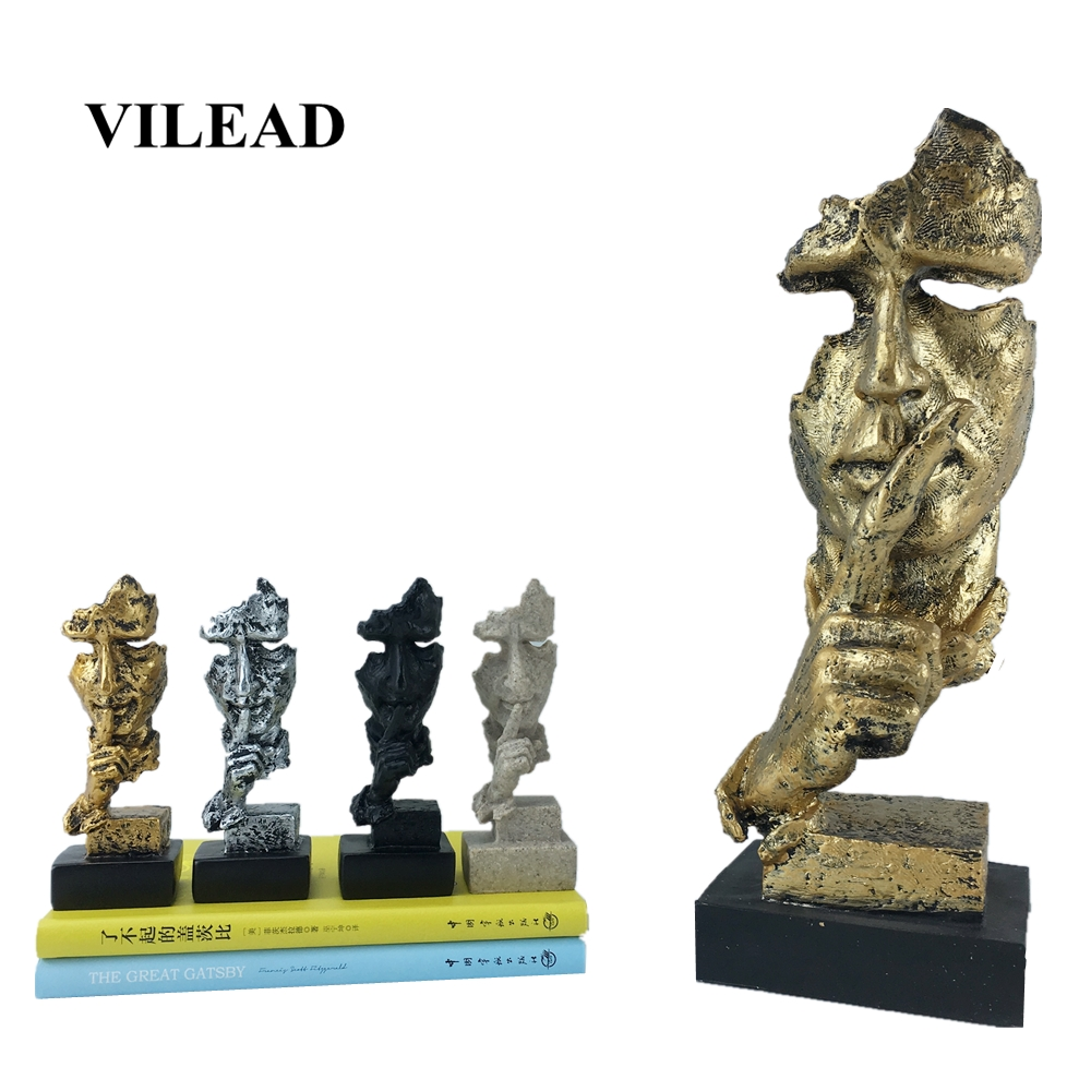 VILEAD 13.5cm 30.5cm Resin Face Mask Figurines Silence Is Gold Abstract Art Face Creative Secoration Office Study Craft Ornament|Figurines & Miniatures| |  - title=