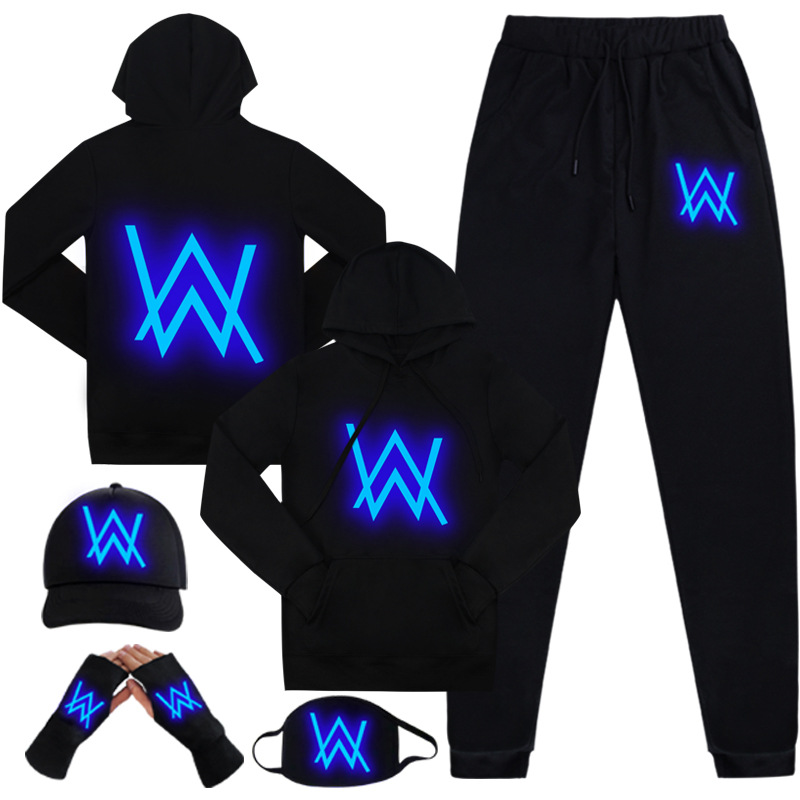 Luminous Alan Walker Hoodies Spring Autumn Pullover Hip Hop Sweatshirt Zipper Hooded Jacket Coat Tracksuits Cosplay Costume