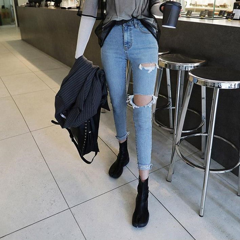 Women's Casual High Waist Feet Nine Points Jeans 2019 Korean Version Of The Autumn Sexy Hole Design Slim Feet Jeans