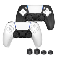 OIVO Grip Skins For PS5 Controllers 2 Pairs Black and White Ergonomic Design Comfortable 2 mm Thickened Drop Protection Antiskip