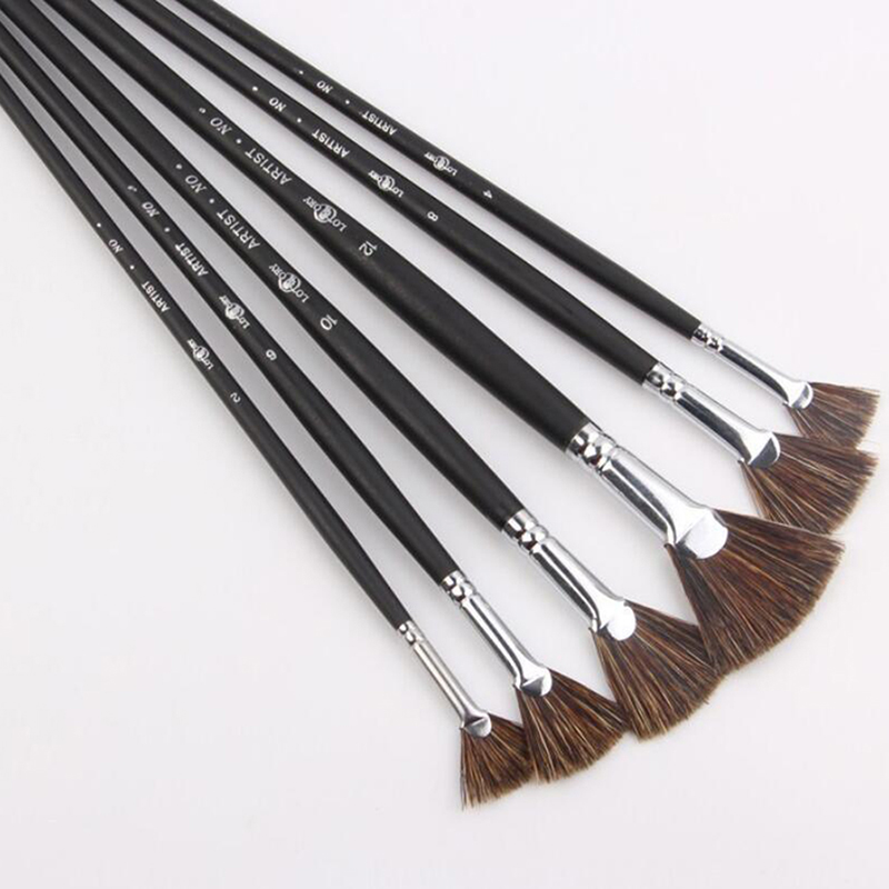 Special Offer Wild Boar Bristle Brush Pen Set Fan Shape Art Supplies Painting Pen Oil Paint Brush Student Stationery 6pcs/Set