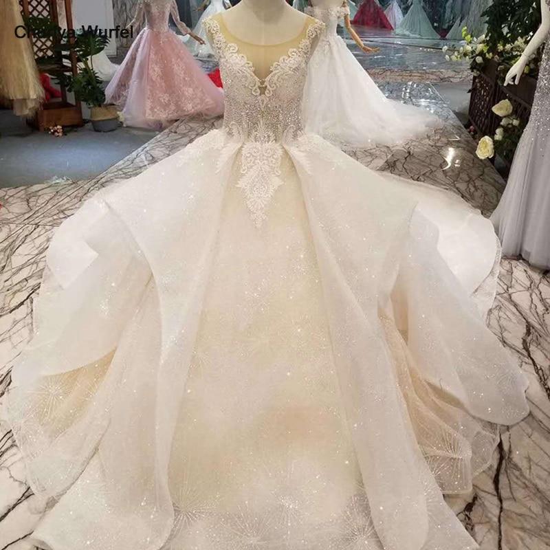 LSS155 luxury shiny wedding dress multi layer skirt o neck sleeveless appliques beauty wedding gown with train free shippingWedding Dresses   -