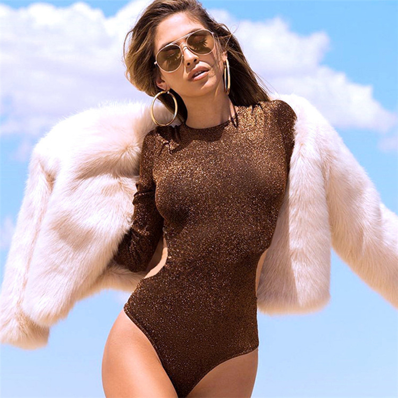Women Sexy Jumpsuit Shirt Tops Autumn Slim Gold Silk Hollow Round Neck Solid Color Long Sleeve Sexy Bodysuit