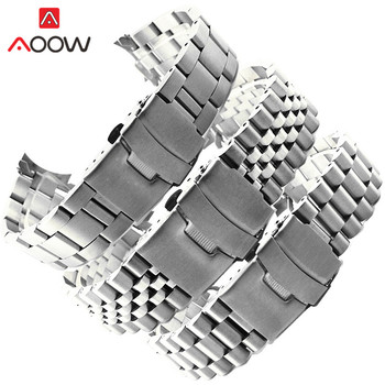 Stainless Steel Band Strap 20mm 22mm Seamless Folding Buckle Diving Men Sport Replacement Bracelet Watch Accessories for Seiko - discount item  27% OFF Watches Accessories