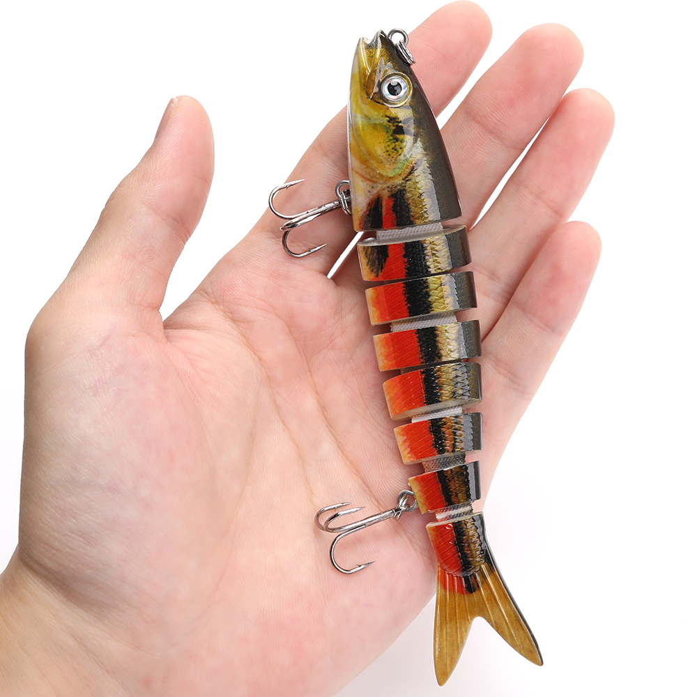 13.7cm 26g Pike Wobblers Fishing Lures Sinking 8 Segments Multi Jointed Artificial Bait Hard Swimbait Crankbaits Fishing Tackle