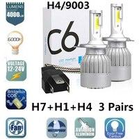 C6 H1 H4 Auto Led Scheinwerfer Lampen H7 LED Auto Lichter H11 HB3 9005 HB4 9006 6000K 72W 12V 7600LM Auto Scheinwerfer Großhandel Anzüge