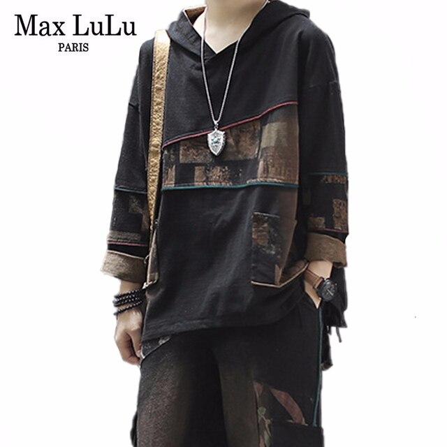 MAX Lulu 2019 เกาหลีแฟชั่นฤดูใบไม้ร่วงใหม่พิมพ์ชุดสุภาพสตรีVINTAGE 2 ชิ้นชุดผู้หญิงHoodedท็อปส์และกางเกงHarem PLUSขนาด