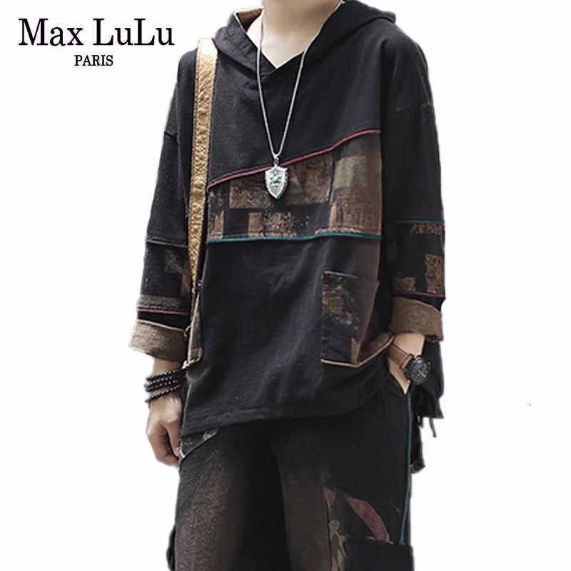 Max LuLu 2019 kore moda yeni sonbahar baskılı kıyafet bayanlar Vintage iki parçalı setleri kadın kapşonlu üstleri ve harem pantolon artı boyutu