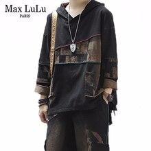 Max lulu 2019 coreano moda nova outono impresso outfit senhoras do vintage dois conjuntos de peças com capuz feminino topos e calças harém mais tamanho
