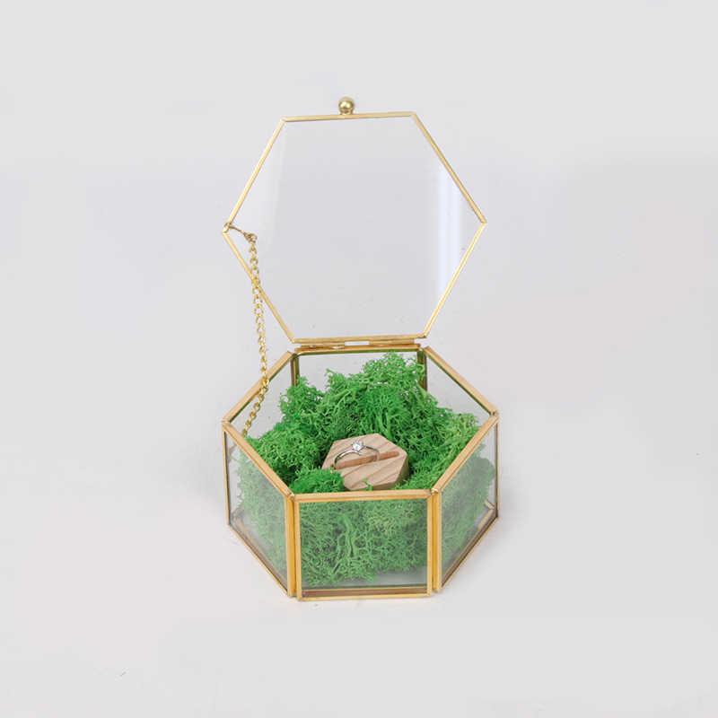 مجوهرات صندوق تخزين الحلي حالة جوهرة النعش خاتم الزفاف الحاويات شاشة لسطح المكتب منضدية النباتات العصارية ديكور