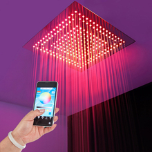 Colorful LED Light Shower Head Phone Control Color Rainfall Bathroom 304SUS Ceiling 16 Inch Showerheads Black Polished