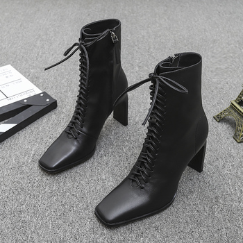 Woman Leather Boots Fashion High Heels Shoes Winter Lace Up Woman Ankle Boots Square Toe Ankle Boots Female Shoes Heels цена 2017