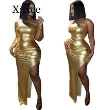 Золотое Платье в африканском стиле без бретелек с лямкой через