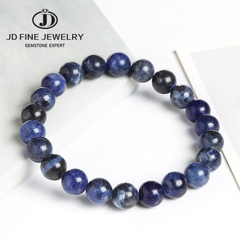 JD Natural Chinese Blue Spotted Sodalite 8mm Stone Round Beads Elastic Line Stretch Bracelet Fashion Man Woman Jewelry