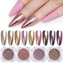 1 коробка, 0,3 г, зеркальный блеск для ногтей, порошок, пыль, золото, шампань, серебро, розовое золото, металлический эффект, металлический эффект, украшение для ногтей, пыль