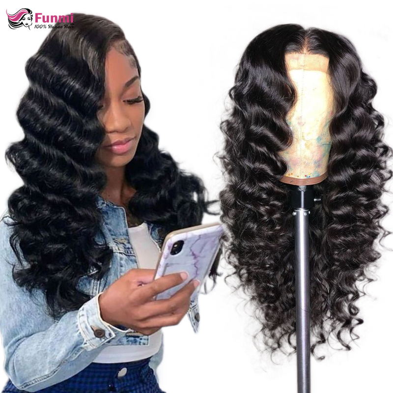 Funmi Remy Loose Deep Wave Lace Front Wigs For Women Malaysian 150% 180% 250% Density Lace Front Human Hair Wigs Pre-Plucked