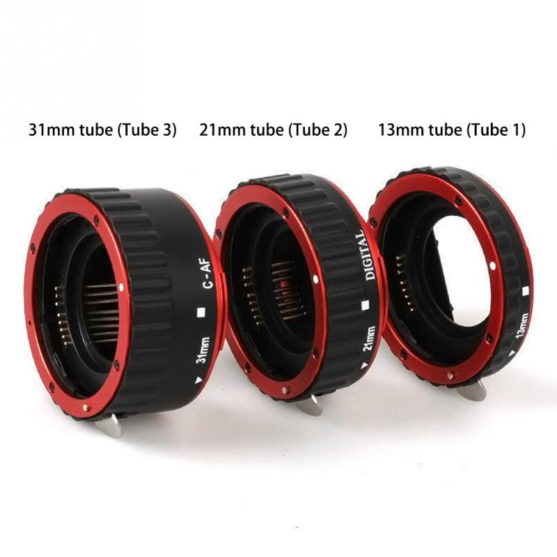 Red Lens Adapter Mount Auto Focus AF Macro Extension Tube Ring for Canon EF S Lens