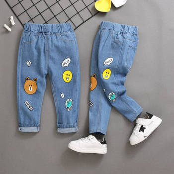 2020 Fall Children 's Cartoon Trousers Cotton Pants Fashion Girl Jeans Cowboy Boys Ripped Jeans Kids Casual Jeans Baby Clothes budingxiong 2018 brand children sets fashion ripped kids jeans unisex clothes spring autumn children s wear boys girls jeans