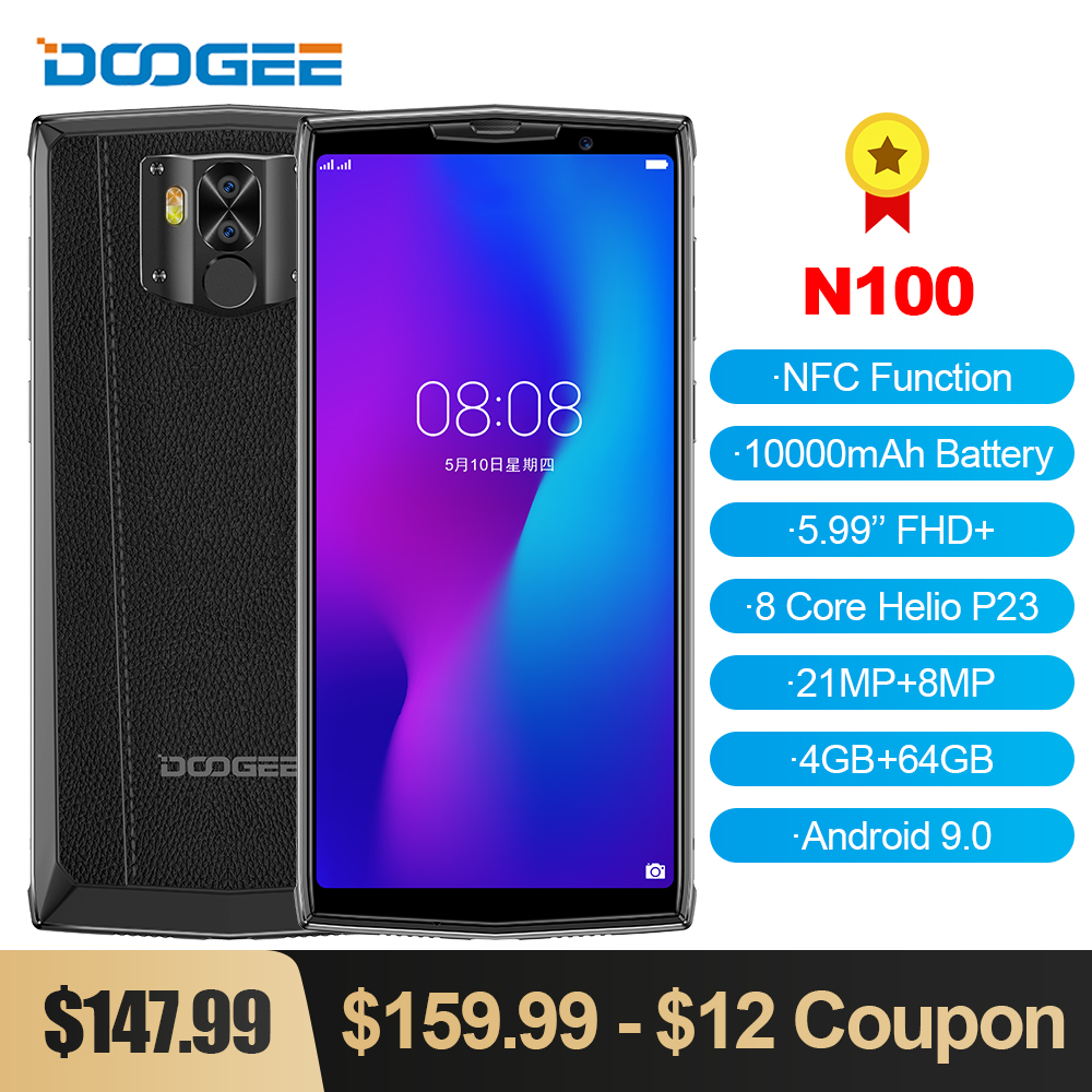 DOOGEE N100 Mobile Phone 10000mAh 5.99'' FHD+ Display Helio P23 MT6763 Octa Core 4GB 64GB 21MP Camera Android 9.0 4G LTE Phone